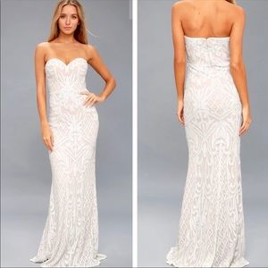 Lulu's Olivia White Sequin Strapless Maxi Dress